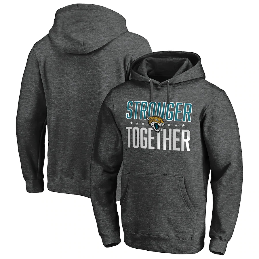 Jacksonville Jaguars Heather Gray Stronger Together Crossover Neck Pullover Hoodie