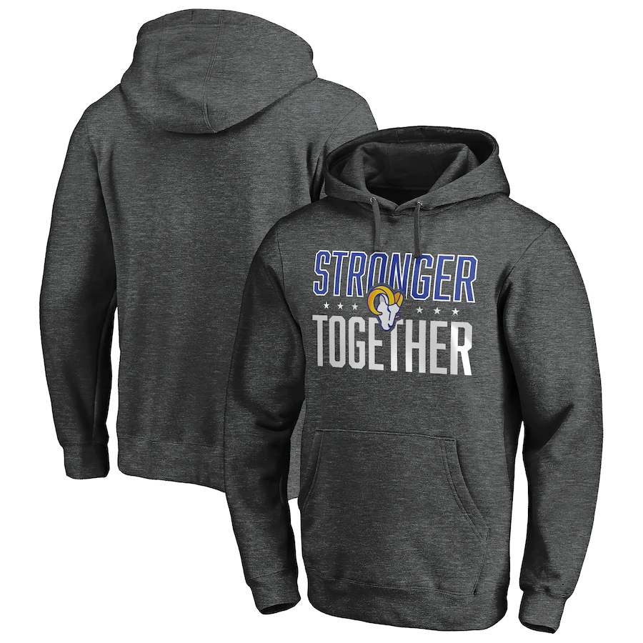Los Angeles Rams Heather Charcoal Stronger Together Pullover Hoodie