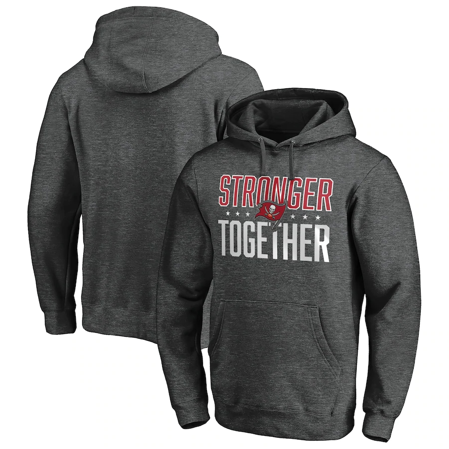 Tampa Bay Buccaneers Heather Charcoal Stronger Together Pullover Hoodie