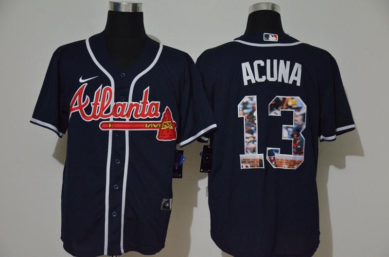 Braves 13 Ronald Acuna Jr. Navy Nike Cool Base Player Jersey