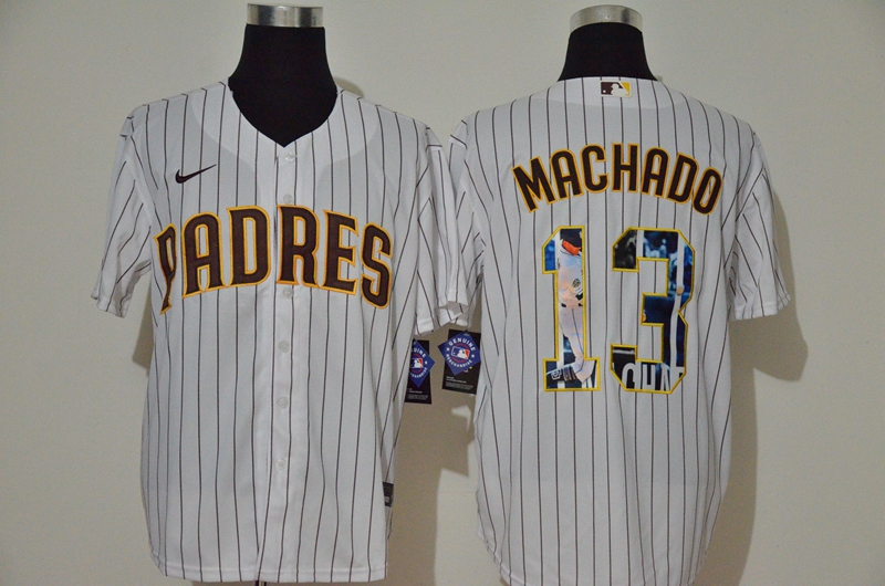 Padres 13 Manny Machado White Nike Cool Base Player Jersey