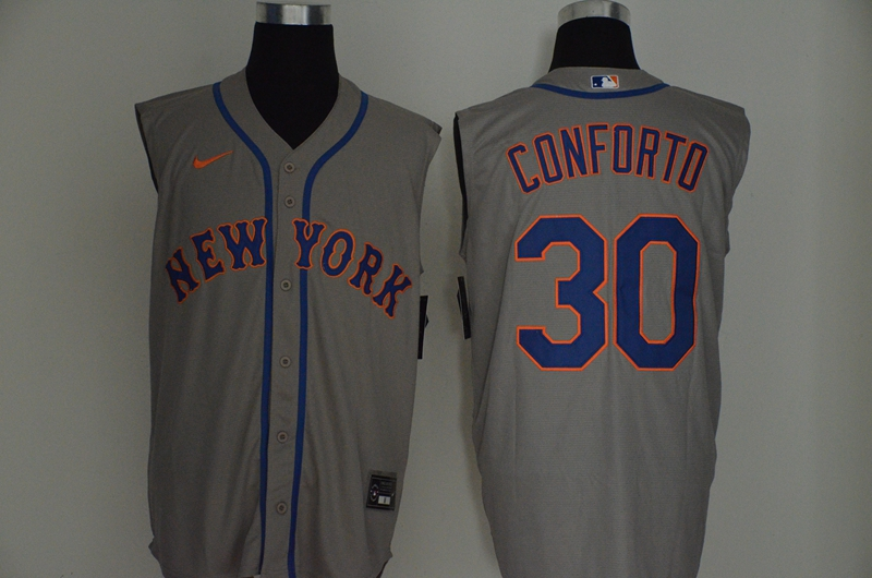 Mets 30 Michael Conforto Gray Nike Cool Base Sleeveless Jersey