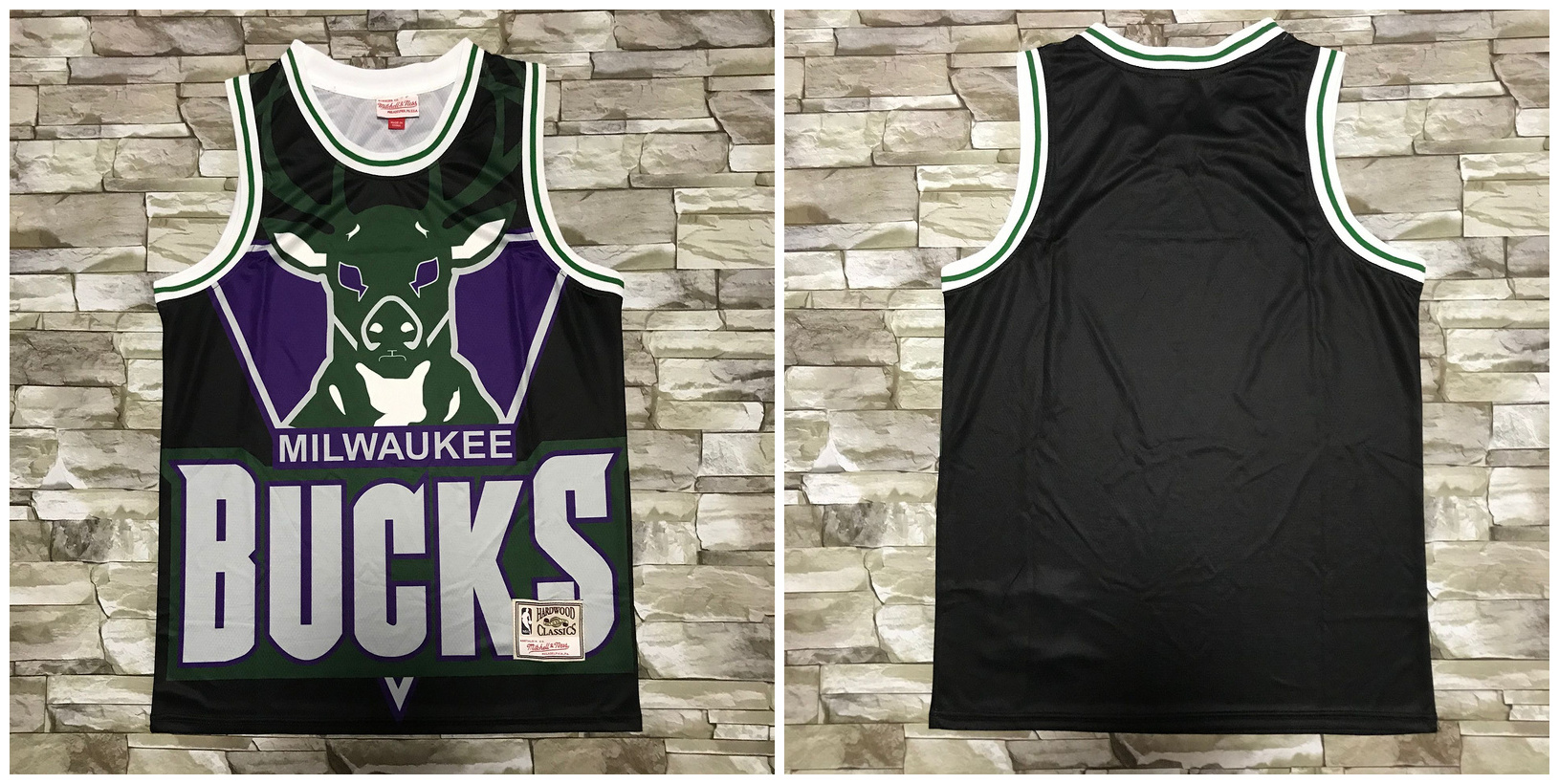 Bucks Big Face Black Hardwood Classics Swingman Jersey