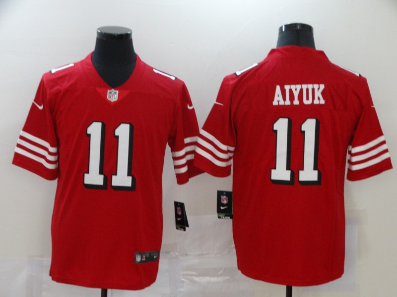 Nike 49ers 11 Brandon Aiyuk Red 2020 NFL Draft First Round Pick Color Rush Vapor Untouchable Limited Jersey