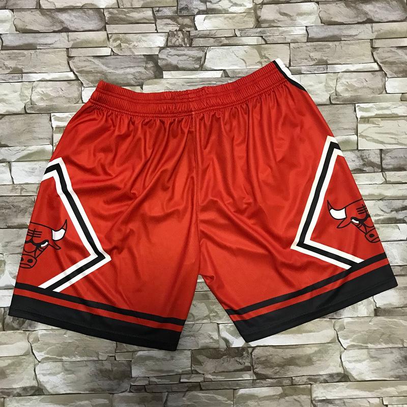 Bulls Red Black Big Face With Pocket Swingman Shorts