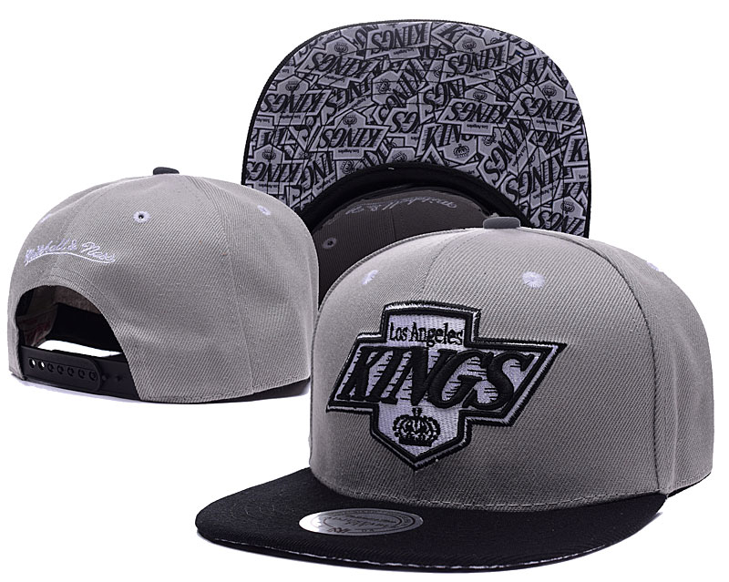 Kings Team Logo Gray Mitchell & Ness Adjustable Hat LH