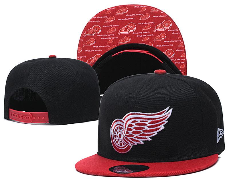 Red Wings Team Logo Black Adjustable Hat LH