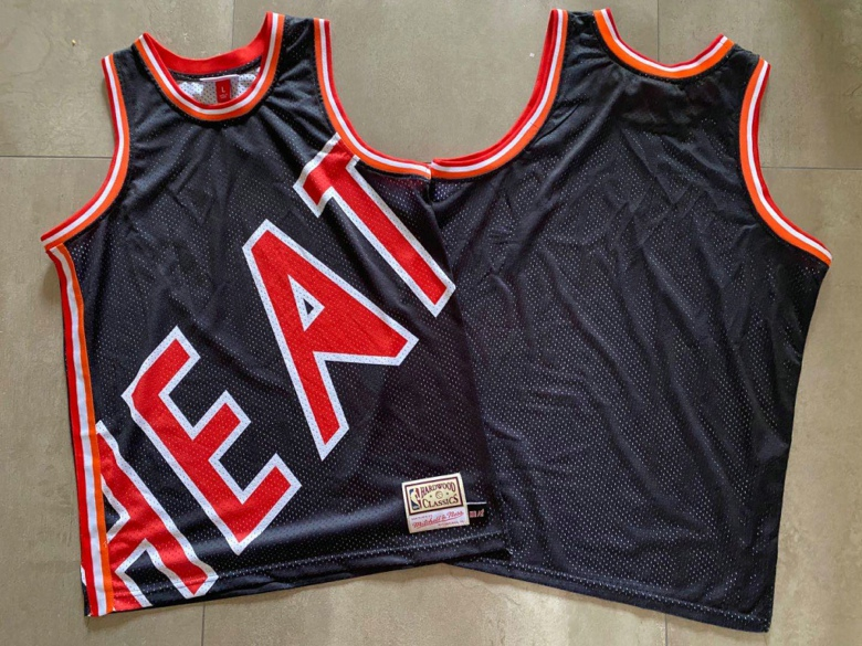 Heat Big Face Black Hardwood Classics Swingman Jersey