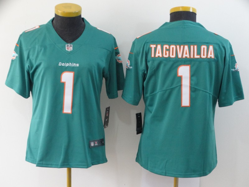 Nike Dolphins 1 Tua Tagovailoa Aqua Women 2020 NFL Draft First Round Pick Vapor Untouchable Limited Jersey