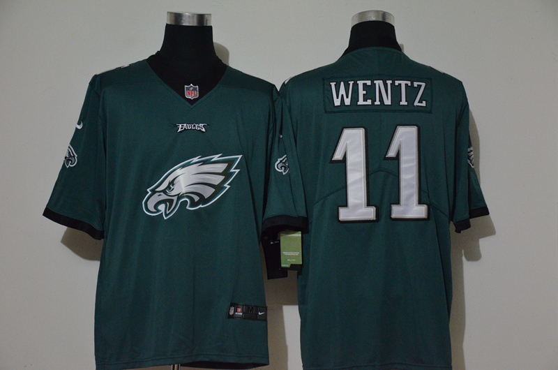 Nike Eagles 11 Carson Wentz Green Vapor Untouchable Limited Jersey