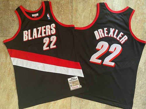 Blazers 22 Clyde Drexler Black 1991-92 Hardwood Classics Swingman Jersey