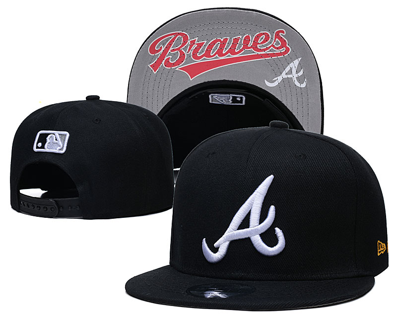 Braves Team Logo Black Adjustable Hat GS
