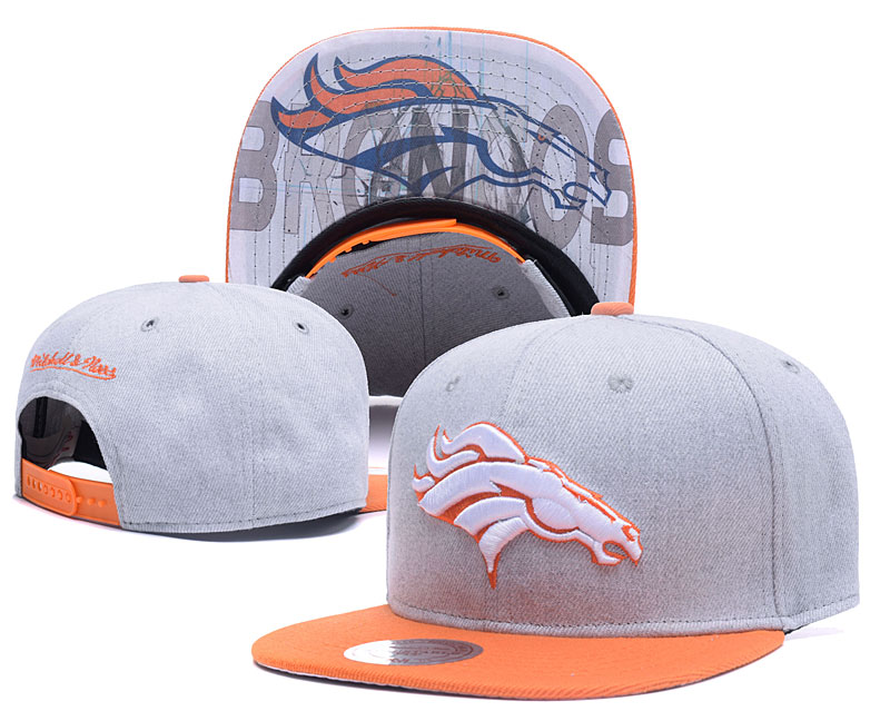 Broncos Team Logo Gray Mitchell & Ness Adjustable Hat LH