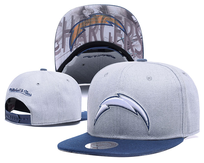 Chargers Team Logo Gray Mitchell & Ness Adjustable Hat LH