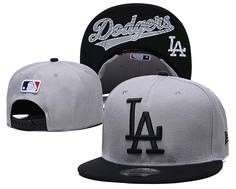 Dodgers Team Logo Gray Adjustable Hat GS