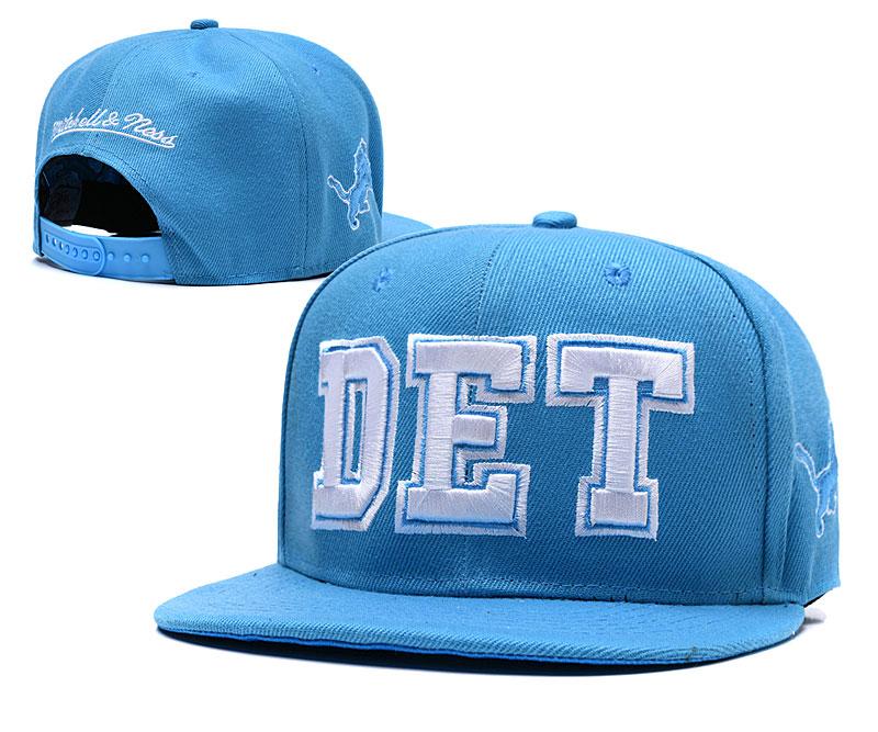 Lions Team Logo Light Blue Mitchell & Ness Adjustable Hat LH
