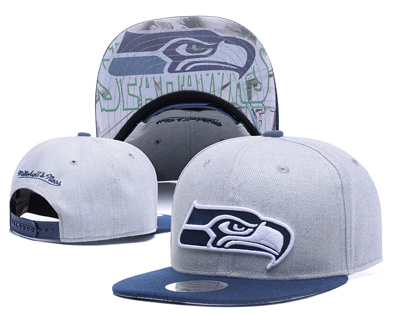 Seahawks Team Logo Gray Mitchell & Ness Adjustable Hat LH