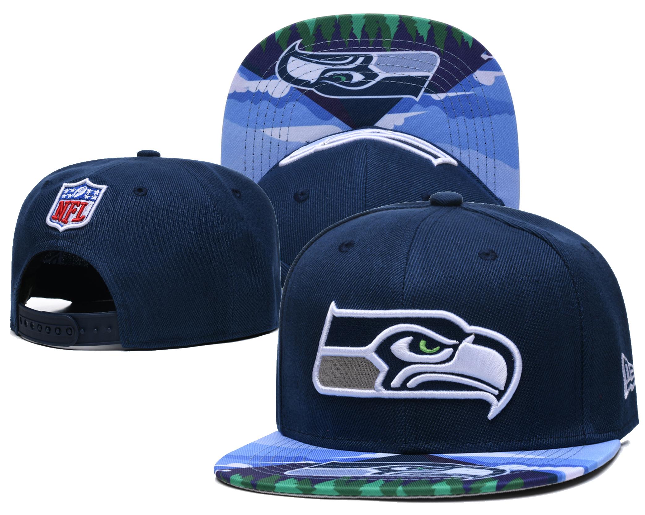 Seahawks Team Logo Navy Adjustable Hat LH