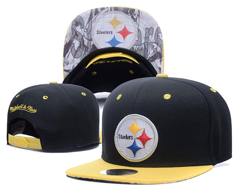 Steelers Team Logo Black Mitchell & Ness Adjustable Hat LH