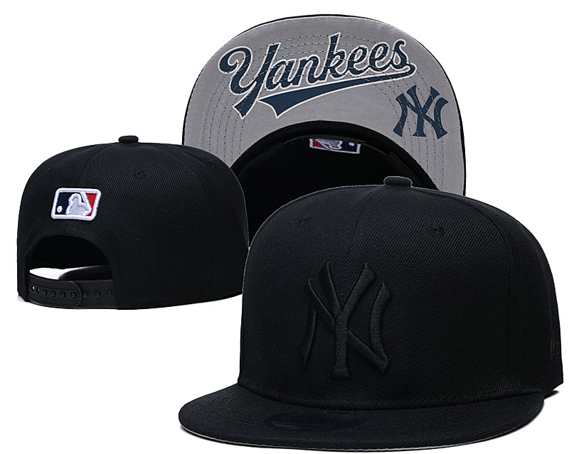 Yankees Team Logo Black Adjustable Hat GS