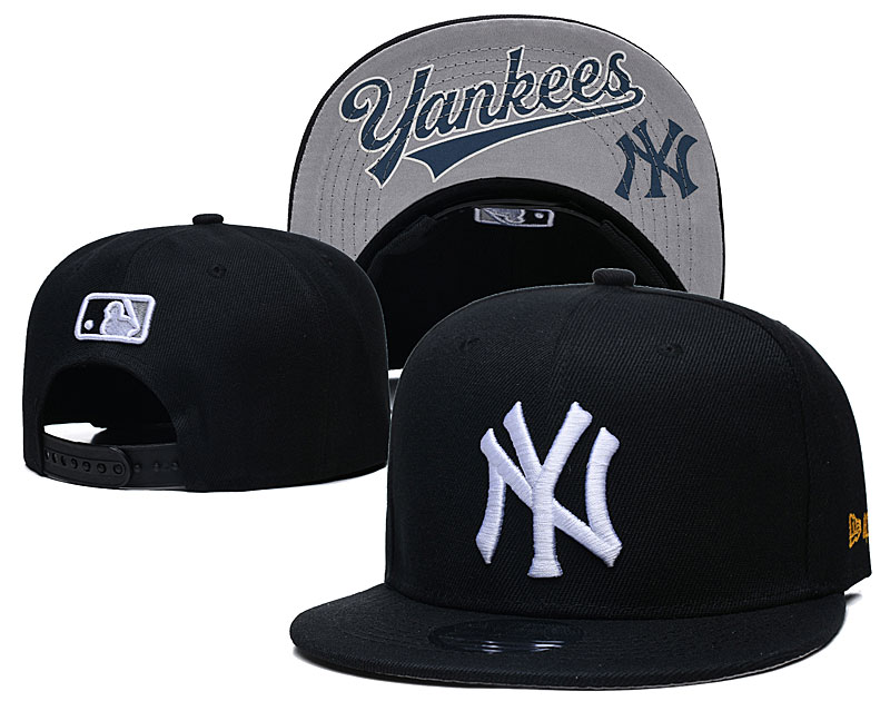 Yankees Team White Logo Black Adjustable Hat GS