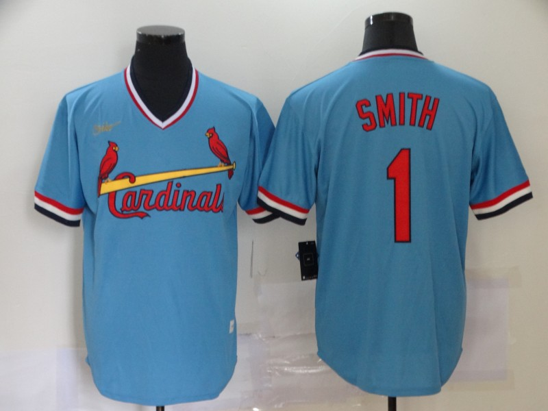 Cardinals 1 Ozzie Smith Light Blue Nike Cool Base Throwback Jersey