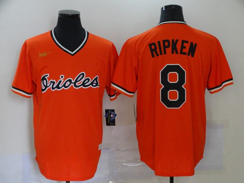 Orioles 8 Cal Ripken Jr Orange Nike Cool Base Throwback Jersey