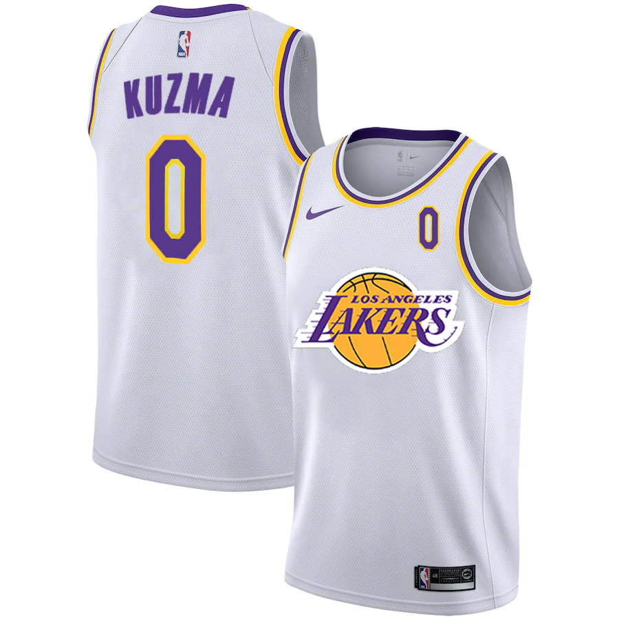 Lakers 0 Kyle Kuzma White 2020-2021 New City Edition Nike Swingman Jersey