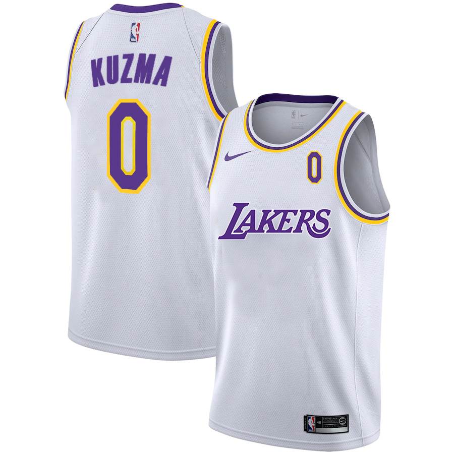 Lakers 0 Kyle Kuzma White 2020-2021 New City Edition Nike Swingman Jerseys