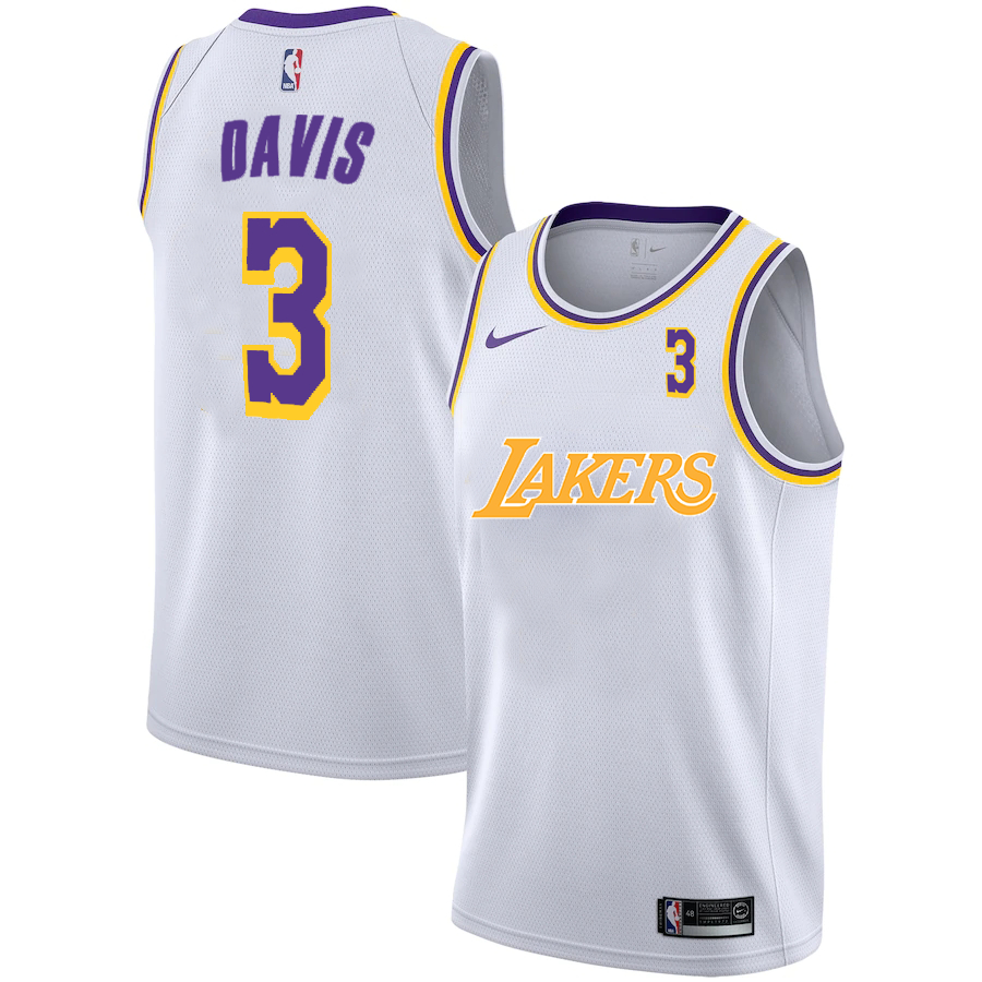 Lakers 3 Anthony Davis White 2020-2021 New City Edition Nike Swingman Jersey