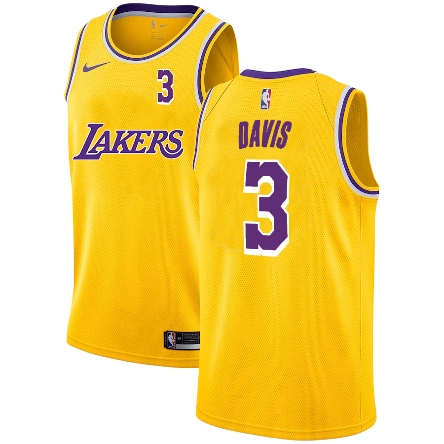 Lakers 3 Anthony Davis Yellow 2020-2021 New City Edition Nike Swingman Jersey