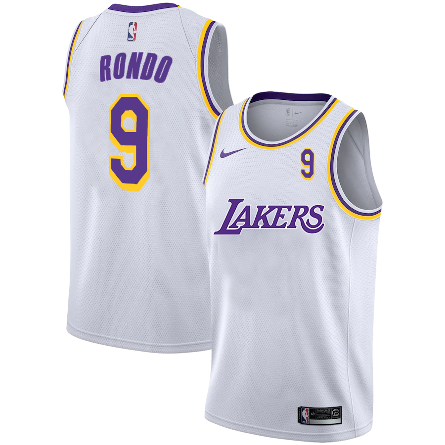 Lakers 9 Rajon Rondo White 2020-2021 New City Edition Nike Swingman Jersey