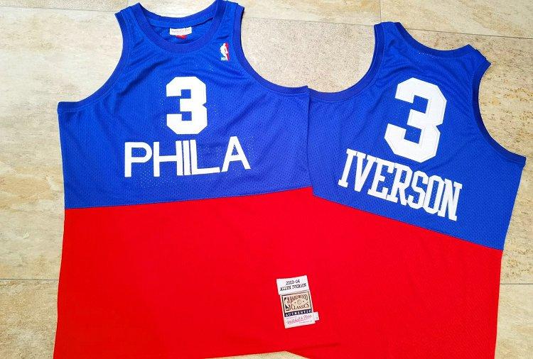 76ers 3 Allen Iverson Blue Red 2003-04 Hardwood Classics Swingman Jersey
