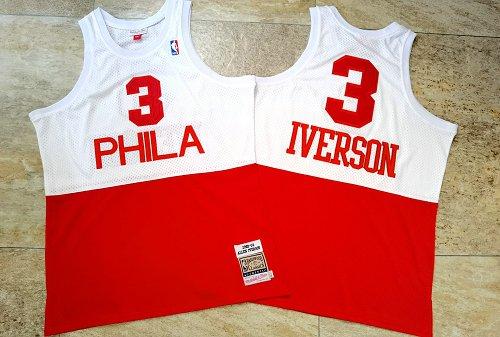 76ers 3 Allen Iverson White Red 2003-04 Hardwood Classics Swingman Jersey