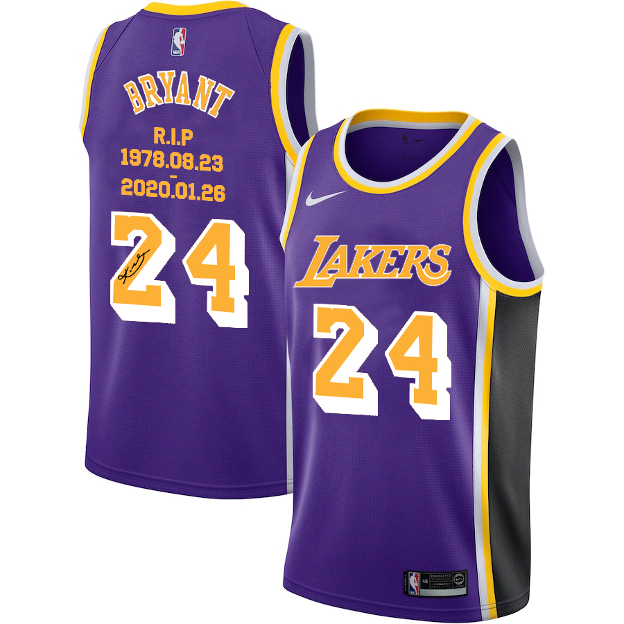 Lakers 24 Kobe Bryant Purple R.I.P Signature Swingman Jersey
