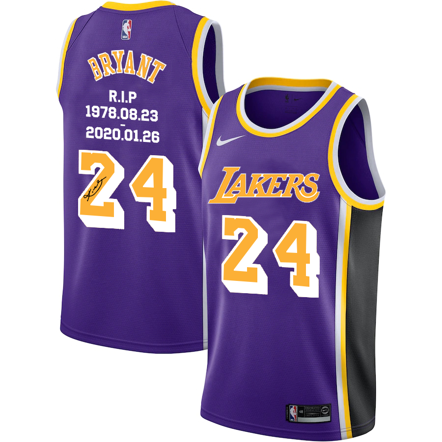 Lakers 24 Kobe Bryant Purple R.I.P Signature Swingman Jerseys