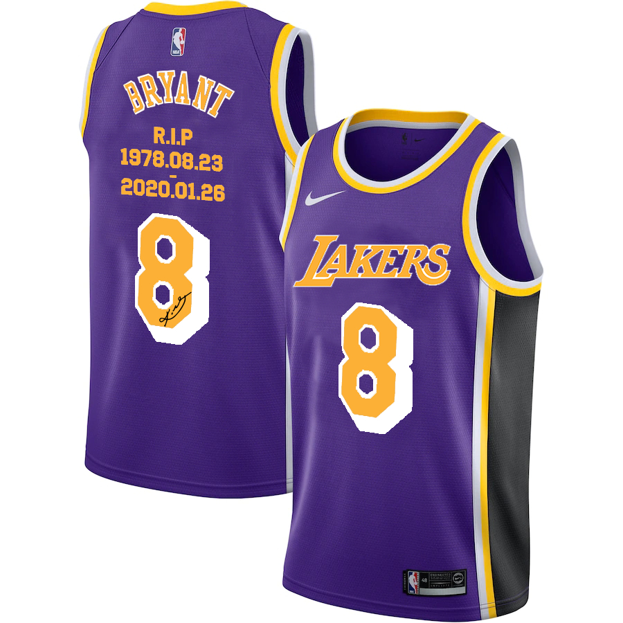 Lakers 8 Kobe Bryant Purple R.I.P Signature Swingman Jersey