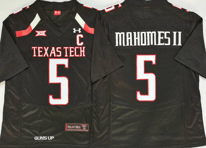 Texas Tech Red Raiders 5 Patrick Mahomes II Black C Patch College Football Jersey