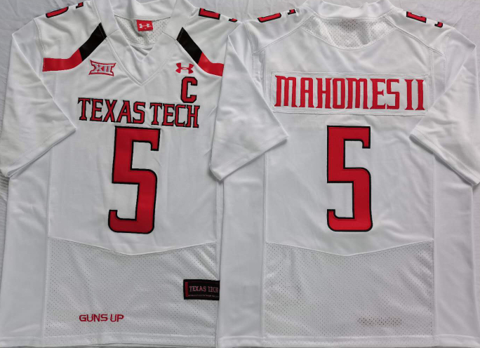 Texas Tech Red Raiders 5 Patrick Mahomes II White C Patch College Football Jersey