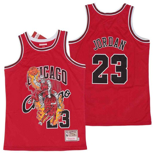 Bulls 23 Michael Jordan Red Hardwood Classics Skull Edition Jersey