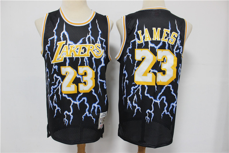 Lakers 23 Lebron James Black Hardwood Classics Lightning Limited Edition Jersey