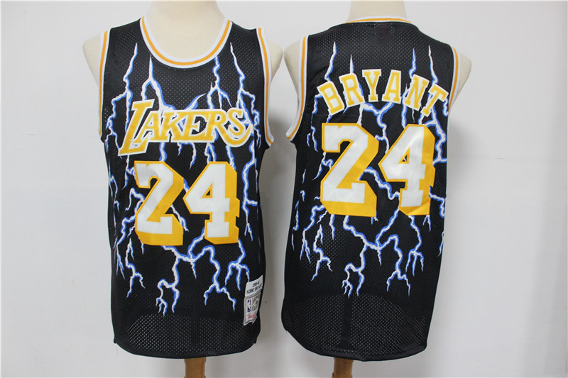 Lakers 24 Kobe Bryant Black Hardwood Classics Lightning Limited Edition Jersey