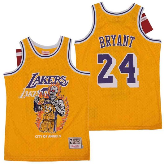 Lakers 24 Kobe Bryant Yellow Hardwood Classics Skull Edition Jersey