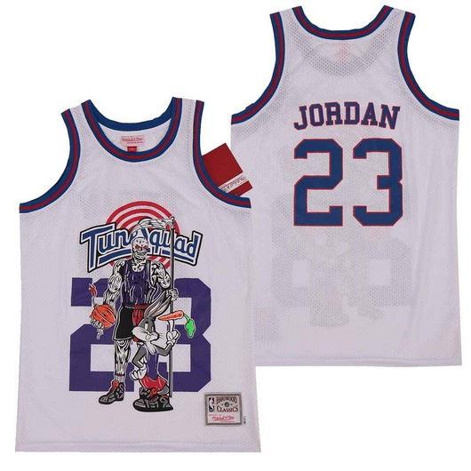Tune Squad 23 Michael Jordan White Hardwood Classics Skull Edition Movie Jersey