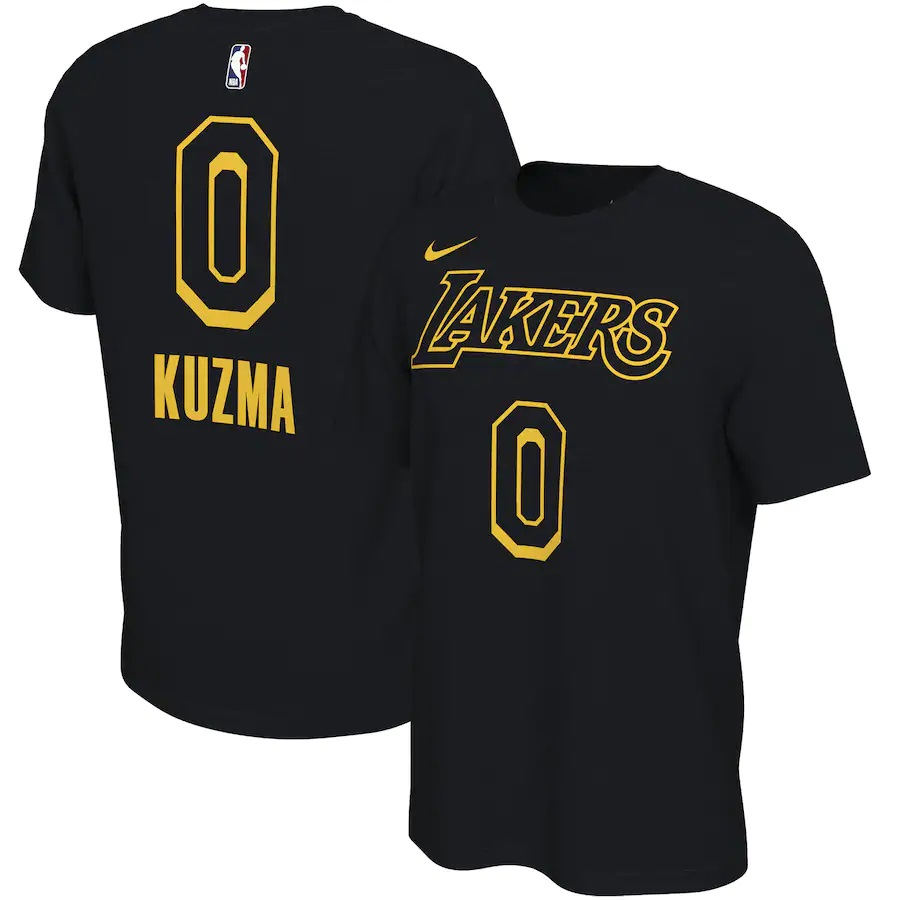 Lakers 0 Kyle Kuzma Black Nike Restart Name & Number T-Shirt