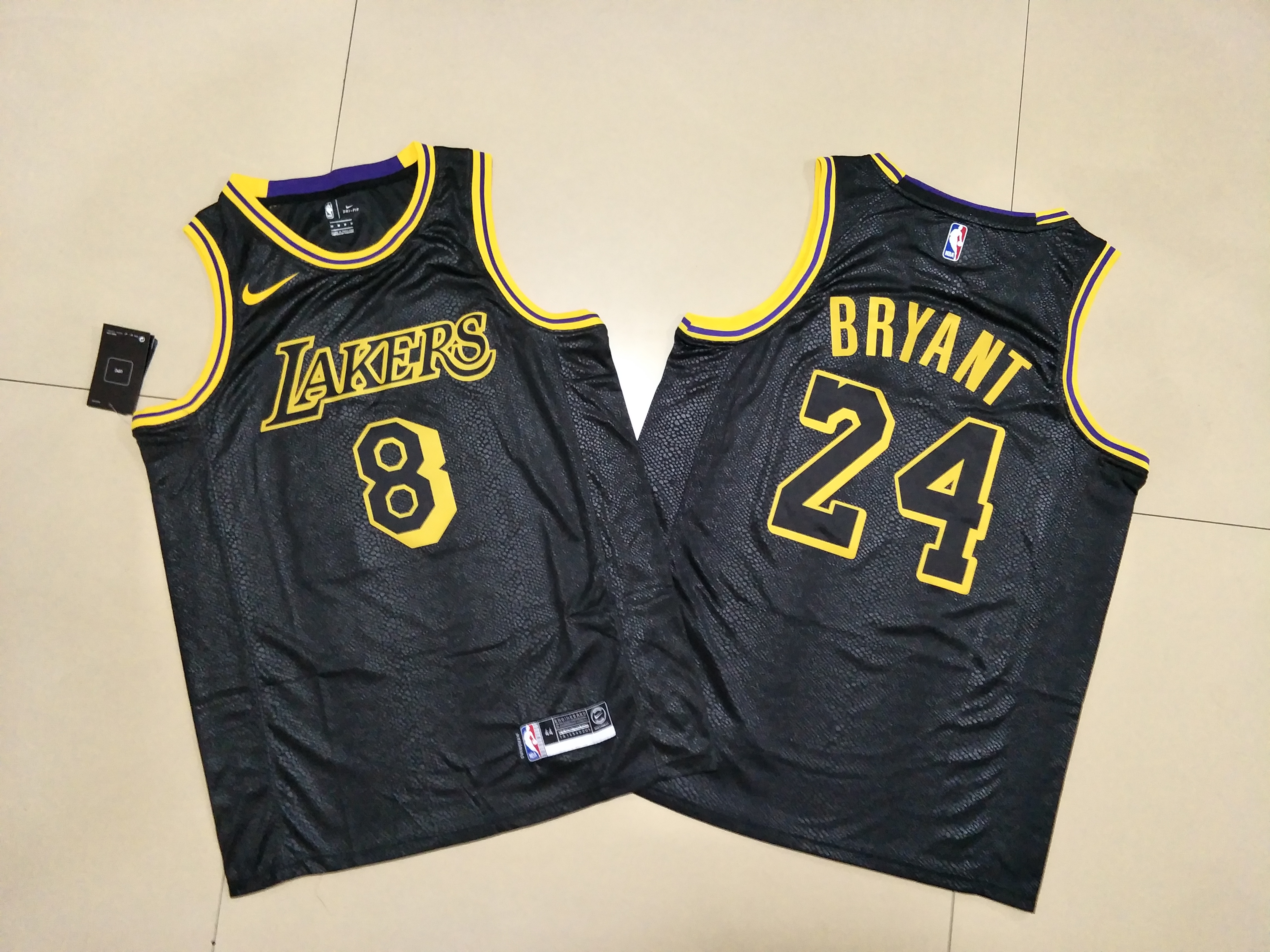 Lakers 8 & 24 Kobe Bryant Black Commemorative Swingman Jersey