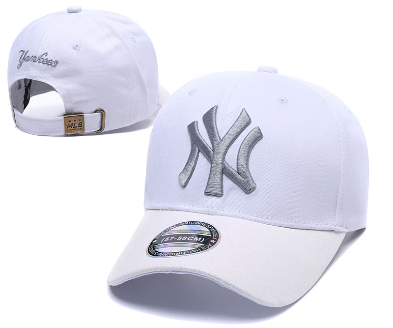 Yankees Team Logo White Peaked Adjustable Hat SG