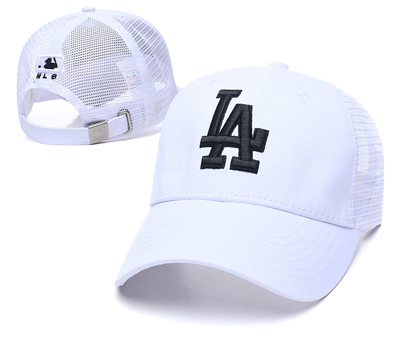 Dodgers Team Black Logo White Peaked Adjustable Hat TX