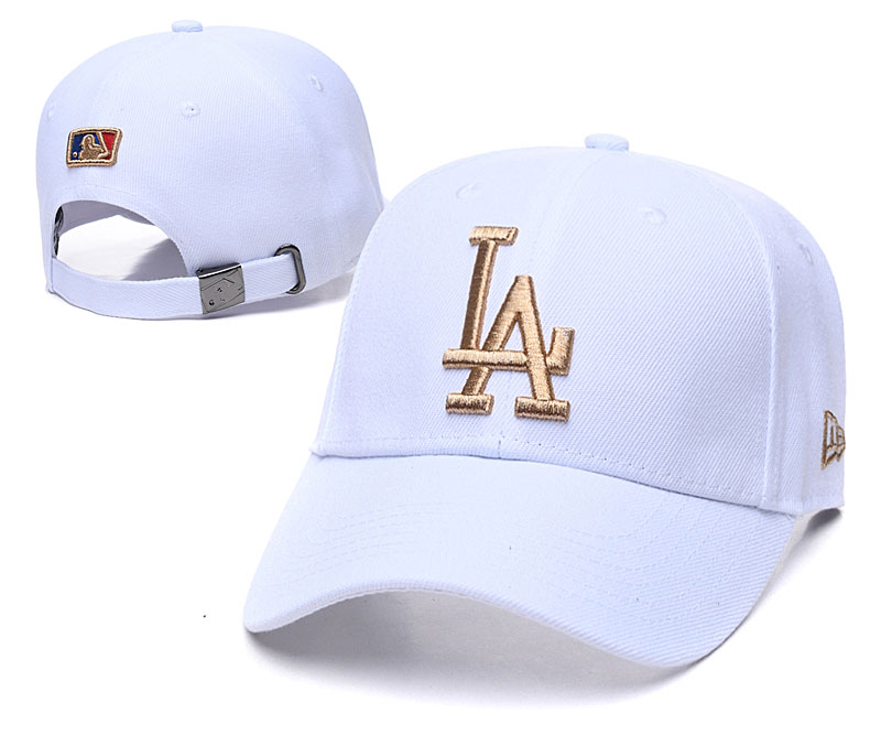 Dodgers Team Gold Logo White Peaked Adjustable Hat TX