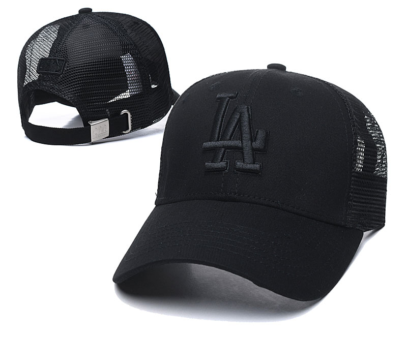 Dodgers Team Logo All Black Peaked Adjustable Hat TX